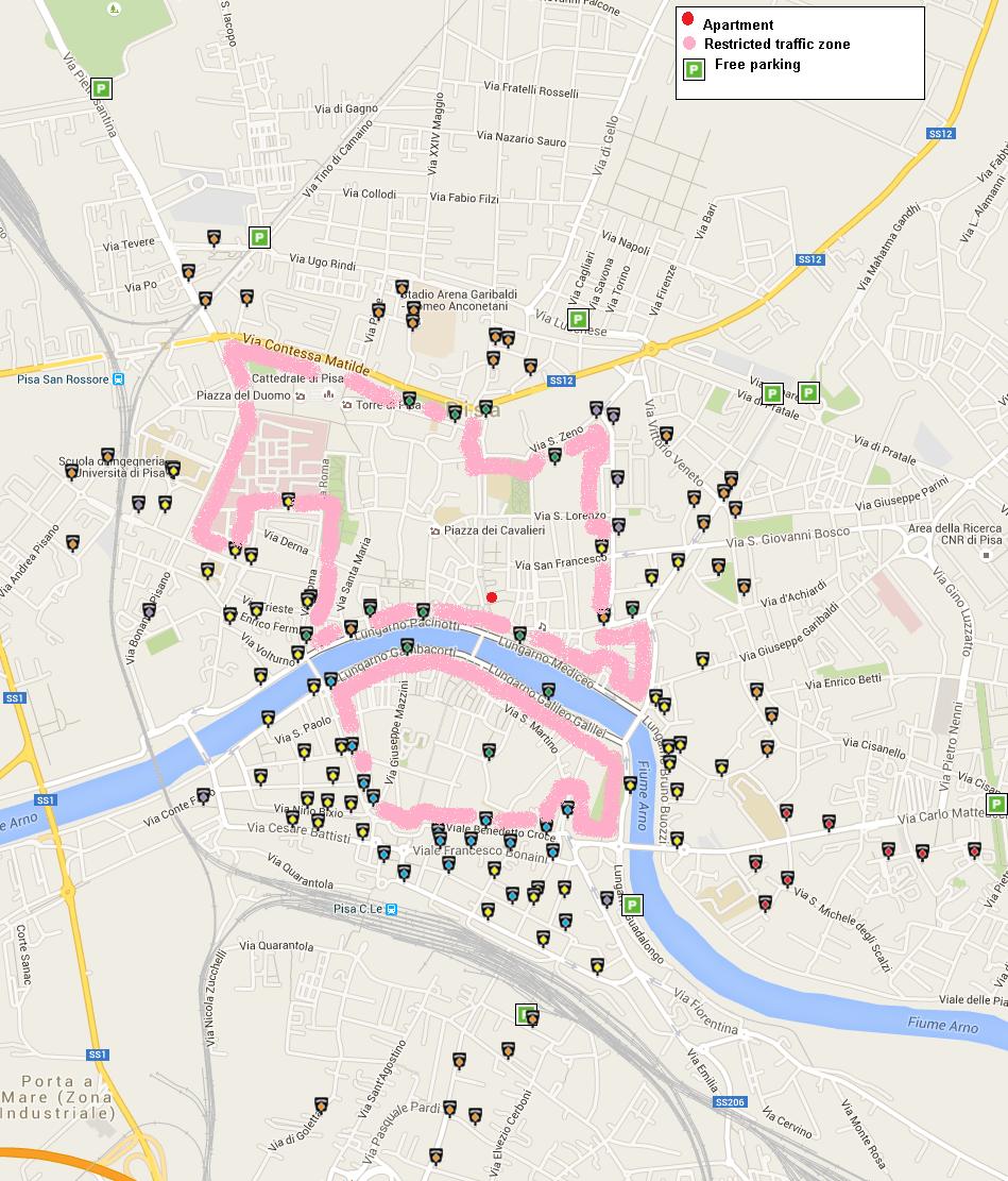 A Casa Di Galileo How To Reach Us - Pisa bus map